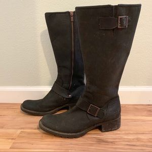 Black leather Moto boots Timberland 10!
